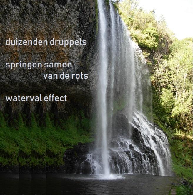 duizenden druppels / springen samen van de rots / waterval effect