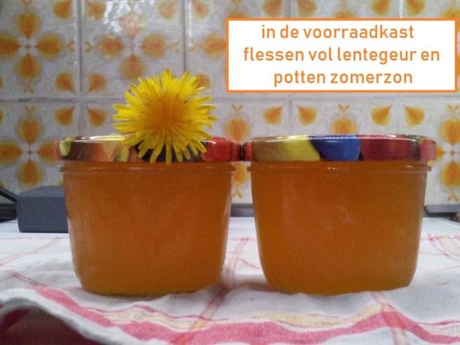 in de voorraadkast / flessen vol lentegeur en / potten zomerzon